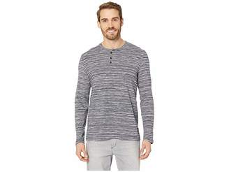 Kenneth Cole New York Long Sleeve Space Dye Three-Button Henley Men's T Shirt