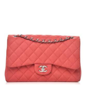 Chanel Double Flap Quilted Diamond Iridescent Jumbo Coral