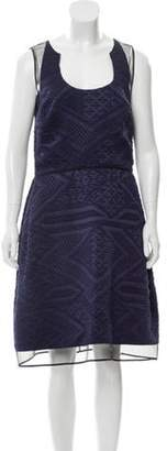 Ralph Rucci Mesh-Accented Patterned Dress Ralph Rucci Mesh-Accented Patterned Dress