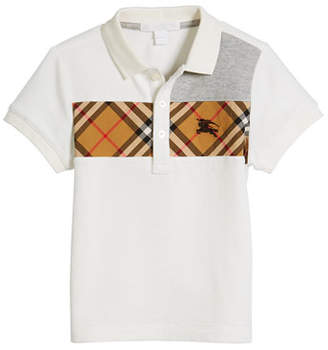 Burberry Jeff Contrasting Polo w/ Check Chest, Size 4-14