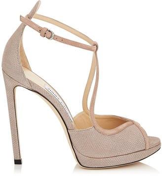 Jimmy Choo FAWNE 120 Ballet Pink Suede and Glitter Mesh Sandals