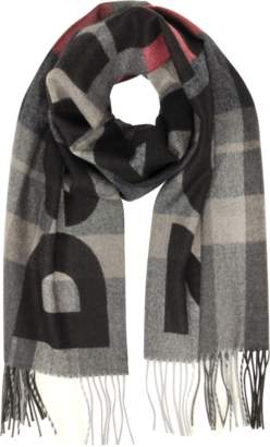 DSQUARED2 Navy Blue and Burgundy Checked Wool Men's Long Scarf w/Signature Logo and Fringes