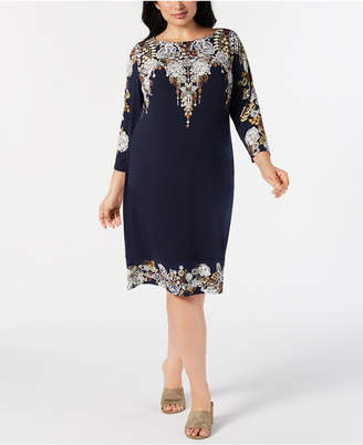 JM Collection Petite Plus Size Embellished Printed Dress
