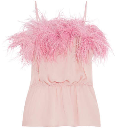 Prada - Feather-trimmed Crinkled Silk-chiffon Camisole - Pink