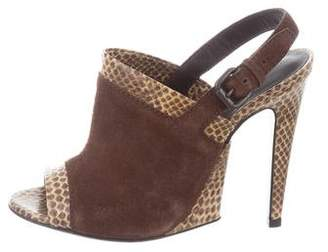 Bottega Veneta Snakeskin Peep-Toe Pumps