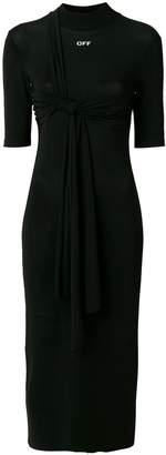 Off-White logo knot detail dress