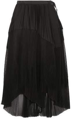 Sacai Striped Poplin-Paneled Pleated Chiffon Midi Wrap Skirt