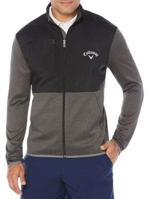 Callaway Big And Tall Big & Tall Opti-Therm Full-Zip Heathered Waffle Fleece Golf Jacket