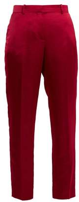 Givenchy Straight Leg Satin Cropped Trousers - Womens - Dark Pink