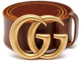 Gucci Gg Logo 4cm Leather Belt - Womens - Brown