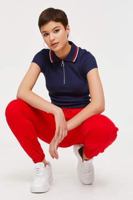 Ardene Half Zip Polo Crop T-shirt