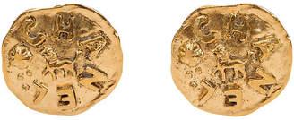 One Kings Lane Vintage Chanel Lion Large Gold Clip Earrings