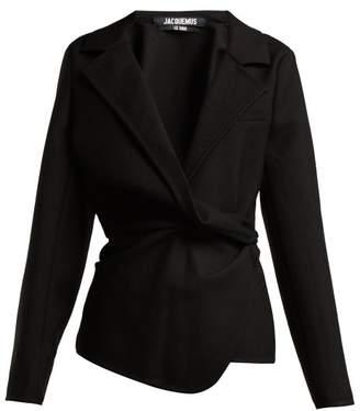 Jacquemus - Veste Baija Double Breasted Drape Wool Jacket - Womens - Black