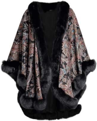Sofia Cashmere Cashmere Paisley Print Cape With Fox Fur Trim