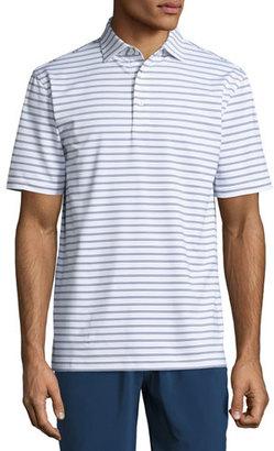 Peter Millar Pug Striped Stretch Polo Shirt, White $85 thestylecure.com