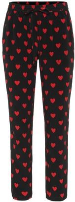RED Valentino Heart print silk pants