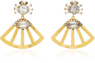 Nicole Romano Fanned Lotus 18K Gold-Plated Crystal Earrings