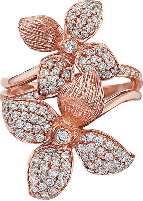 Effy Diamond Pave Flower Statement Ring (3/4 ct. t.w.) in 14k Rose Gold