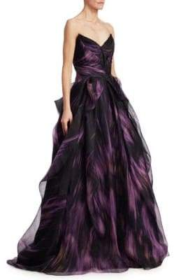 Pamella Roland Printed Mesh Organza Ball Gown
