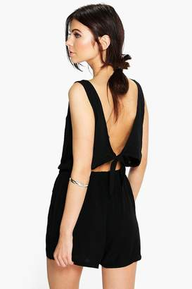 boohoo Tie Back Relaxed Fit Playsuit