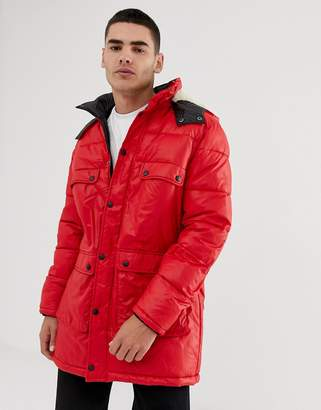 Asos DESIGN longline parka jacket with faux fur trim in red