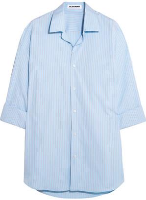 Oversized Striped Cotton Shirt - Sky blue