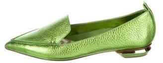 Nicholas Kirkwood Metallic Pointed-Toe Loafers