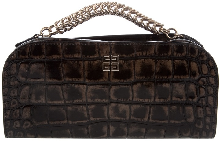 GIVENCHY - Croc-style leather clutch
