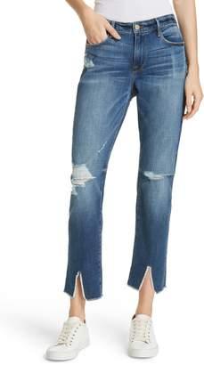 Frame Le Garcon High Waist Raw Split Hem Slim Boyfriend Jeans