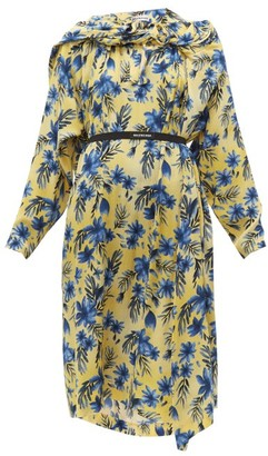 Balenciaga Floral Print Silk Dress - Womens - Yellow Print