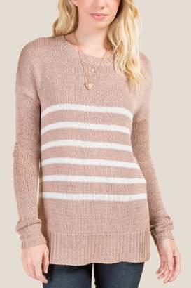 francesca's Trudy Striped Sweater - Rose