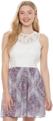 Speechless Juniors' Lace Print Skater Dress