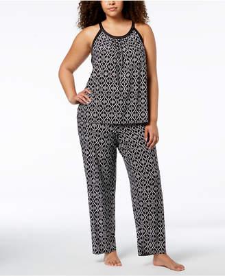 INC International Concepts I.n.c. Plus Size Printed Satin-Trim Pajama Set, Created for Macy's