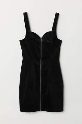H&M Velvet Bib Overall Dress - Black