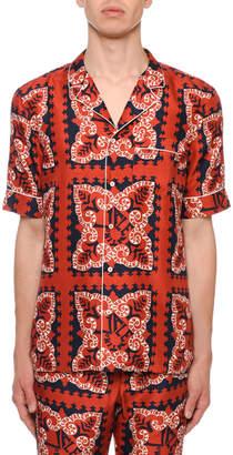 Valentino Men's Logo Bandana-Pattern Silk Short-Sleeve Sport Shirt
