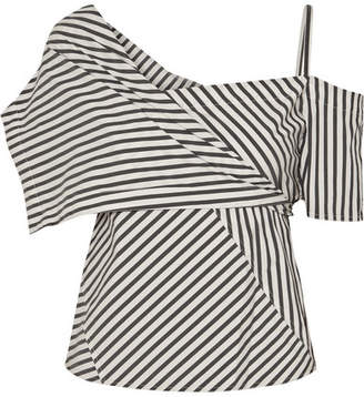 Theory Striped Stretch Cotton-blend Top - Off-white