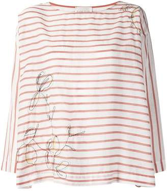 Forte Forte embroidered flower striped blouse