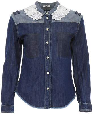 Miu Miu Denim Shirt With Macrame Lace
