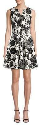 Gabby Skye Paneled Floral Splitneck Mini Dress