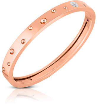 Roberto Coin Pois Moi Luna 18k Rose Gold Diamond Thin Bangle Bracelet