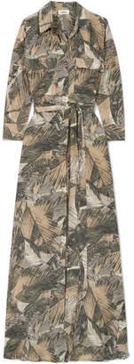L'Agence Cameron Printed Silk-satin Maxi Dress - Gray