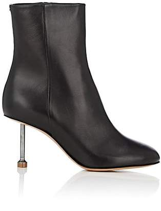 Maison Margiela Women's Metal-Heel Leather Ankle Boots - Black