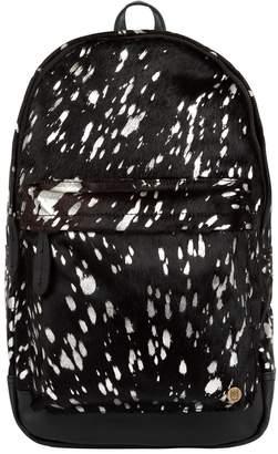 MAHI Leather - Classic Cowhide Leather Backpack Rucksack In Black & Silver