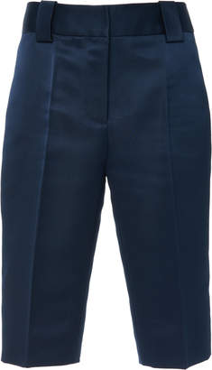 Prada Pleated Silk-Satin Bermuda Shorts