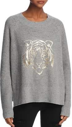 Honey Punch Metallic Tiger Graphic Sweater