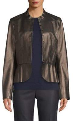 St. John Pearlized Leather Peplum Jacket