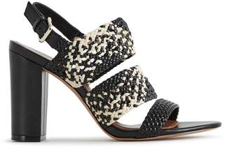 Reiss SYLVIA WOVEN BLOCK HEELED SANDALS Black/natural