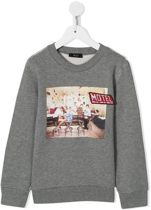 No.21 Kids motel print sweatshirt