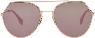 Fendi FF 0194 Rose Gold-Tone & Plum Round Sunglasses