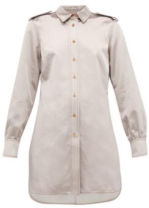 Sies Marjan Kelsi Longline Cotton Blend Satin Shirt - Womens - Light Grey
